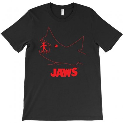 Jaws Chalk Board Movie Licensed Cotton Blend Adult T-shirt Designed By Z4hr4