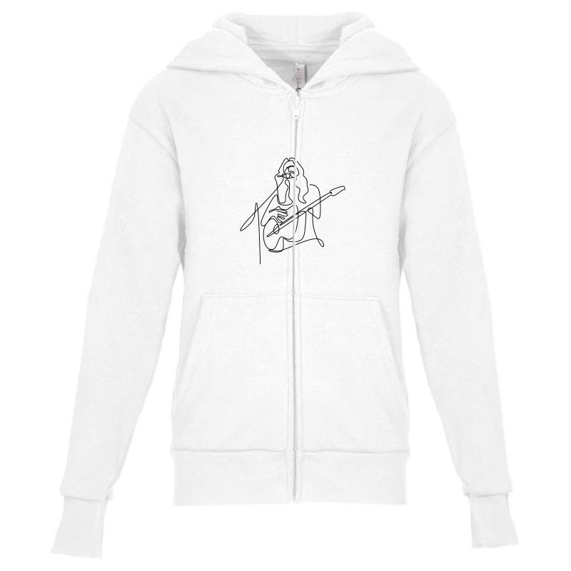 Rock Musician One Line Illustration Youth Zipper Hoodie | Artistshot