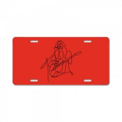rock musician one line illustration License Plate | Artistshot
