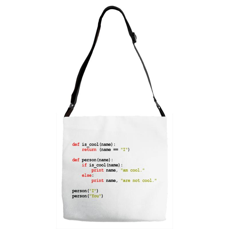 Python Code   I Am Cool Adjustable Strap Totes | Artistshot