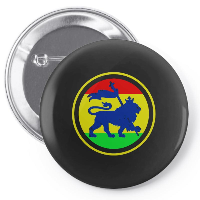 Rasta Flag Lion Pin-back Button | Artistshot