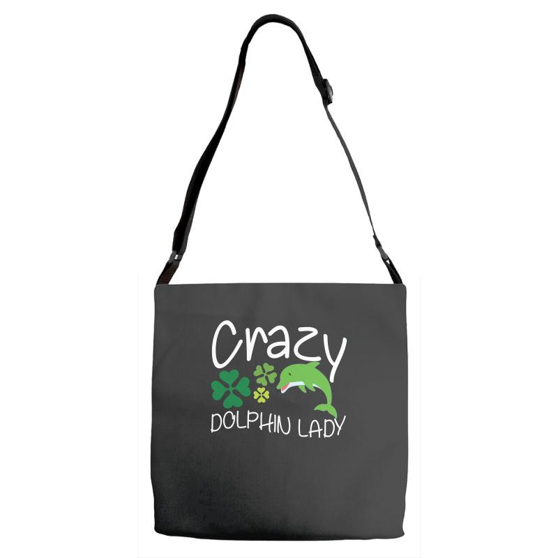 Crazy Dolphin Lady T Shirt Adjustable Strap Totes | Artistshot