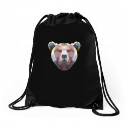 geometric bear funny animal t shirts Drawstring Bags | Artistshot