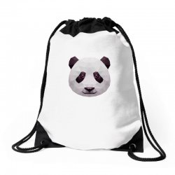 geometric panda bear funny animal t shirts Drawstring Bags | Artistshot