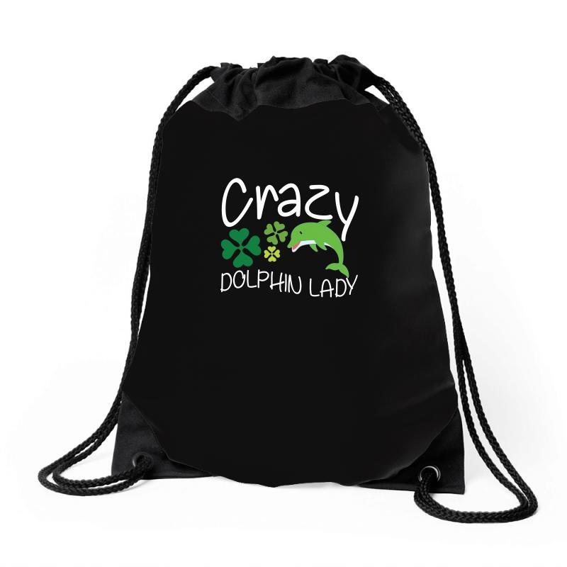 Crazy Dolphin Lady T Shirt Drawstring Bags | Artistshot