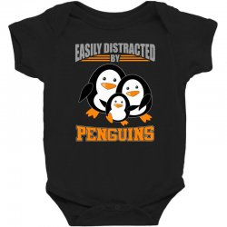 easily distracted by penguins t shirt Baby Bodysuit | Artistshot