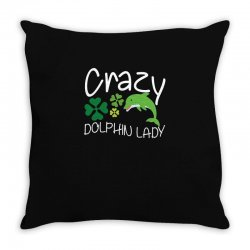 crazy dolphin lady t shirt Throw Pillow | Artistshot