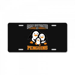easily distracted by penguins t shirt License Plate | Artistshot