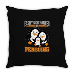 easily distracted by penguins t shirt Throw Pillow | Artistshot