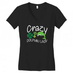 crazy dolphin lady t shirt Women's V-Neck T-Shirt | Artistshot