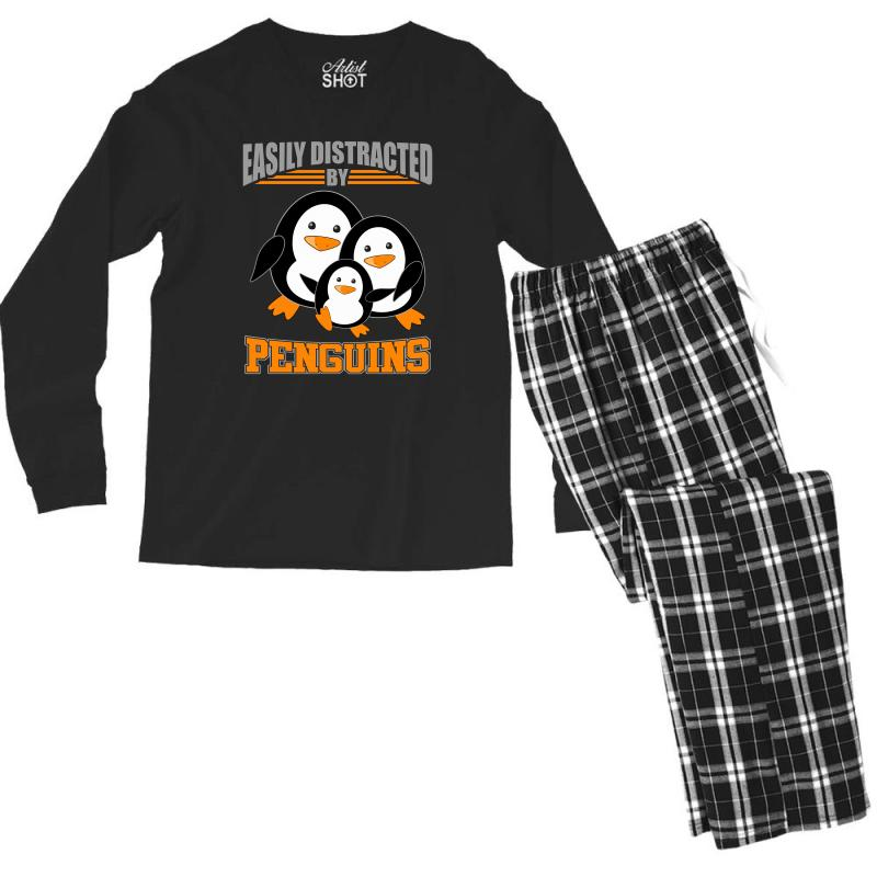 Easily Distracted By Penguins T Shirt Men's Long Sleeve Pajama Set | Artistshot