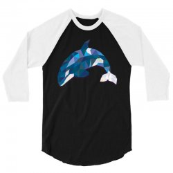 geometric orca whale funny animal t shirts 3/4 Sleeve Shirt | Artistshot