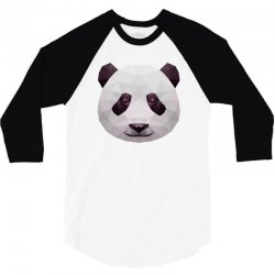 geometric panda bear funny animal t shirts 3/4 Sleeve Shirt | Artistshot