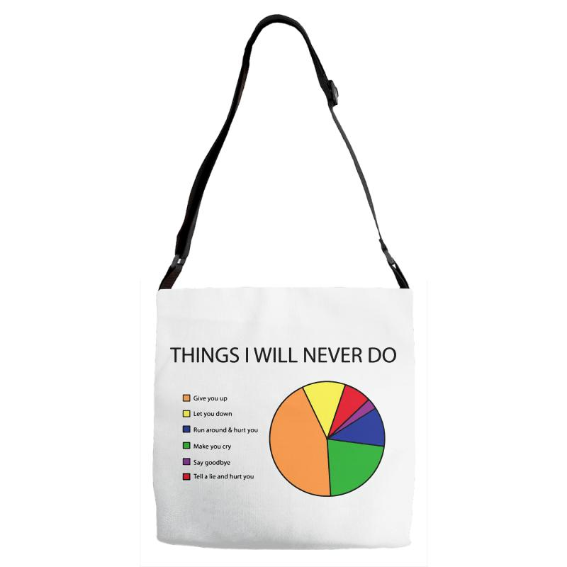 Things I Will Never Do   Pie Chart Adjustable Strap Totes | Artistshot