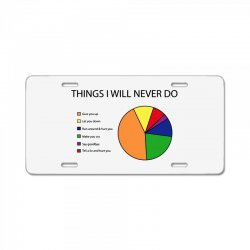 things i will never do   pie chart License Plate | Artistshot