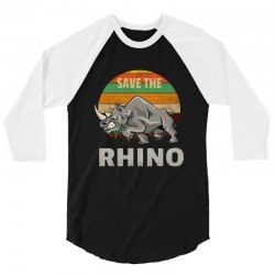 save the rhino rhinoceros    chubby unicorns 3/4 Sleeve Shirt | Artistshot