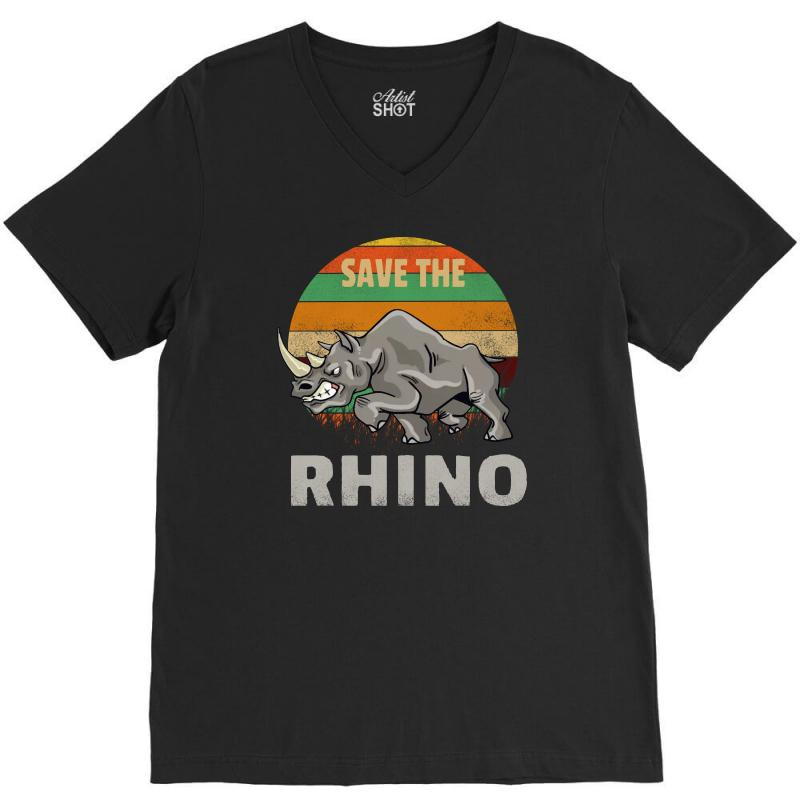 Save The Rhino Rhinoceros    Chubby Unicorns V-neck Tee | Artistshot