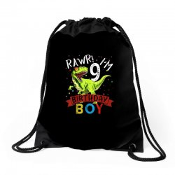 9 years old 9th birthday dinosaur boy daughter Drawstring Bags | Artistshot