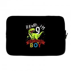 9 years old 9th birthday dinosaur boy daughter Laptop sleeve | Artistshot