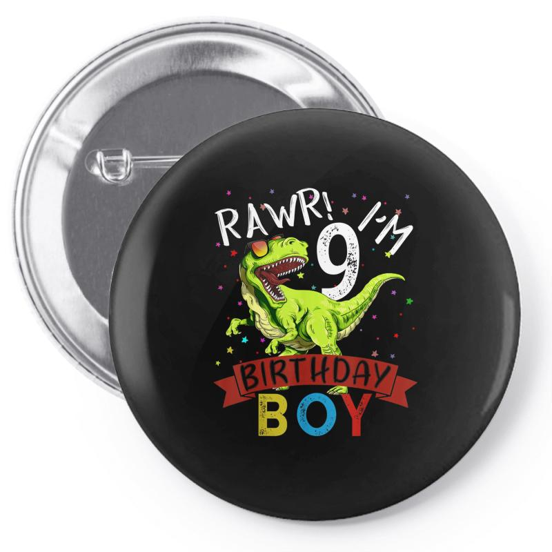 9 Years Old 9th Birthday Dinosaur Boy Daughter Pin-back Button | Artistshot