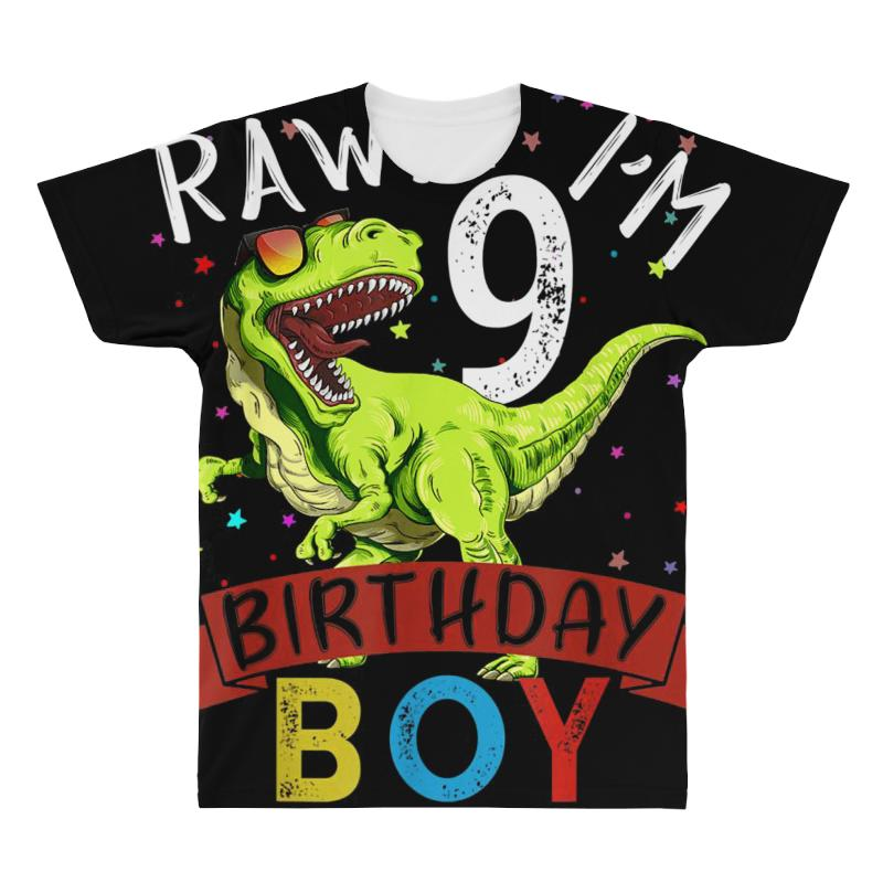 9 Years Old 9th Birthday Dinosaur Boy Daughter All Over Men's T-shirt | Artistshot
