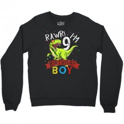 9 years old 9th birthday dinosaur boy daughter Crewneck Sweatshirt | Artistshot