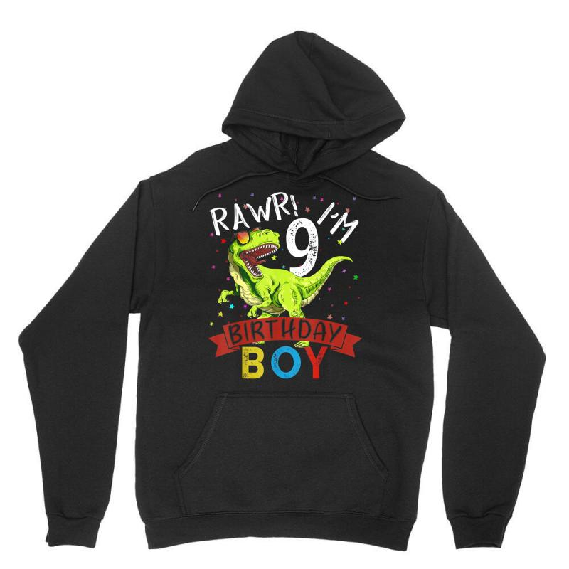 9 Years Old 9th Birthday Dinosaur Boy Daughter Unisex Hoodie | Artistshot