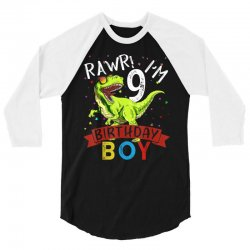 9 years old 9th birthday dinosaur boy daughter 3/4 Sleeve Shirt | Artistshot