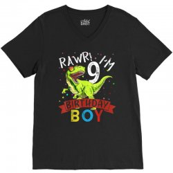 9 years old 9th birthday dinosaur boy daughter V-Neck Tee | Artistshot