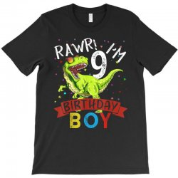 9 years old 9th birthday dinosaur boy daughter T-Shirt | Artistshot