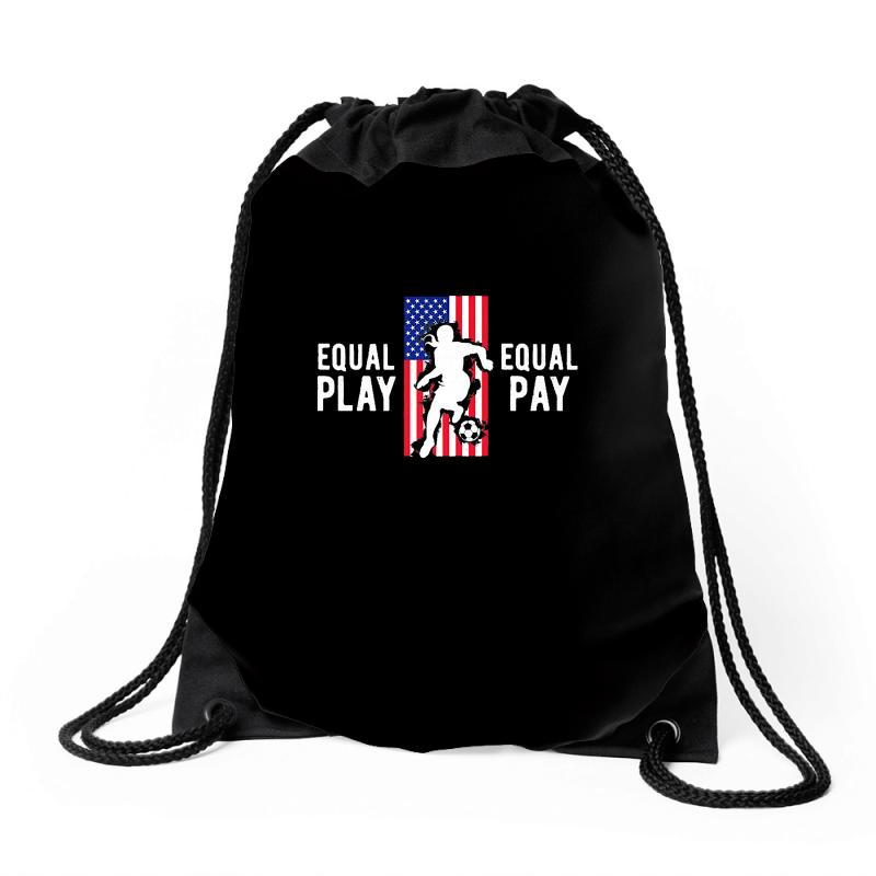 Equal Pay For Equal Play, Usa Flag, Women's Soccer Drawstring Bags | Artistshot