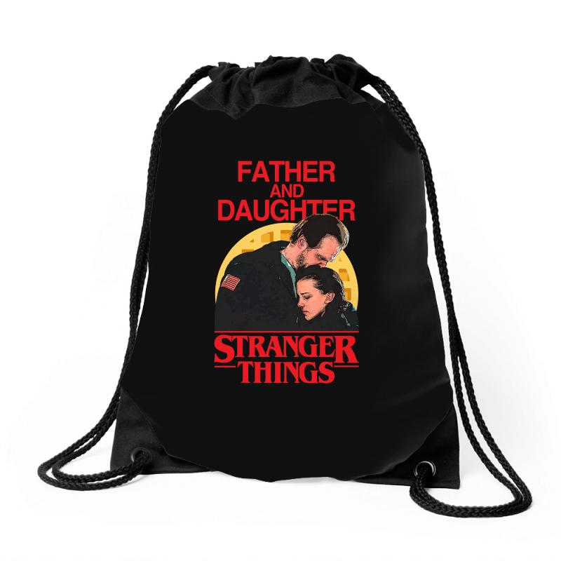 Father And Daughter Stranger Things Drawstring Bags | Artistshot