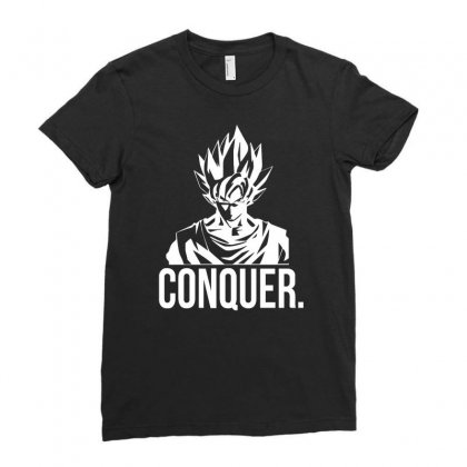 Conquer   Super Saiyan Goku Ladies Fitted T-shirt Designed By Teeshop