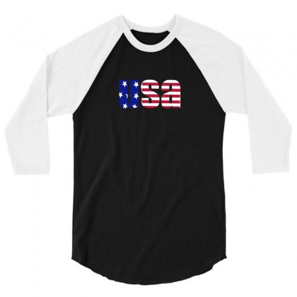 American Freedom Flag 3/4 Sleeve Shirt Designed By Enjang