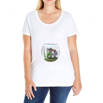 Goldfish Bowl Water Castle Plant Ladies Curvy T-shirt Designed By Salmanaz