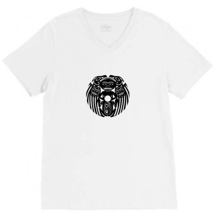 Aztec Mayan Tribal V-neck Tee Designed By Funtee