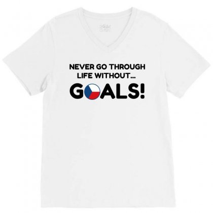 Czech Goals V-neck Tee Designed By Perfect Designers