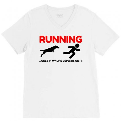 Hate Running V-neck Tee Designed By Perfect Designers