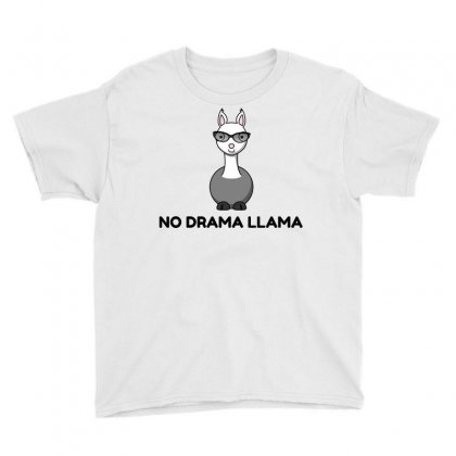 No Drama Llama Sunglasses Youth Tee Designed By Perfect Designers
