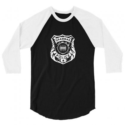 Grammar Police 3/4 Sleeve Shirt Designed By Funtee