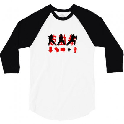 Hadouken Ryu Game Combination Street Fighter1 3/4 Sleeve Shirt Designed By Funtee