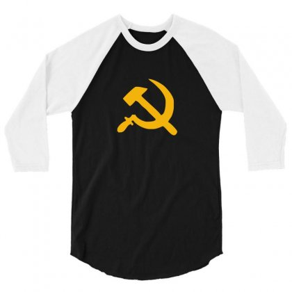 Hammer And Sickle Ussr Communist 3/4 Sleeve Shirt Designed By Funtee