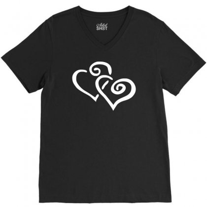 Hearts Sticker Vinyl Decal V-neck Tee Designed By Ismi