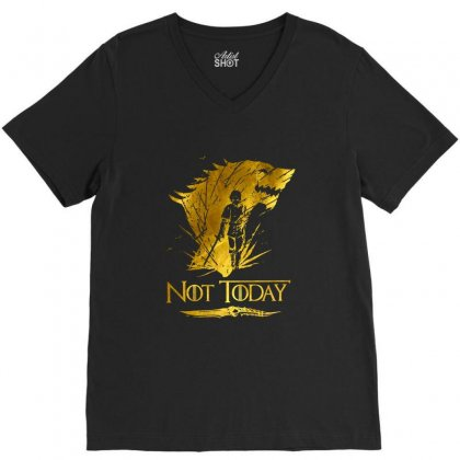 Golden Not Today Game Of Thrones V-neck Tee Designed By Balqis Tees