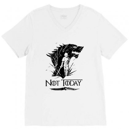 Awesome Not Today Game Of Thrones V-neck Tee Designed By Balqis Tees