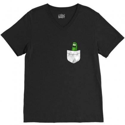 Pocket Cool Pickle V-neck Tee Designed By Balqis Tees
