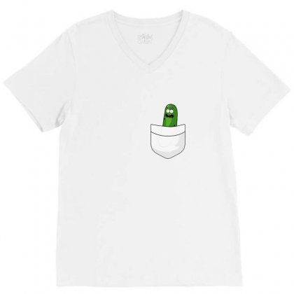 Pocket Pickle V-neck Tee Designed By Balqis Tees