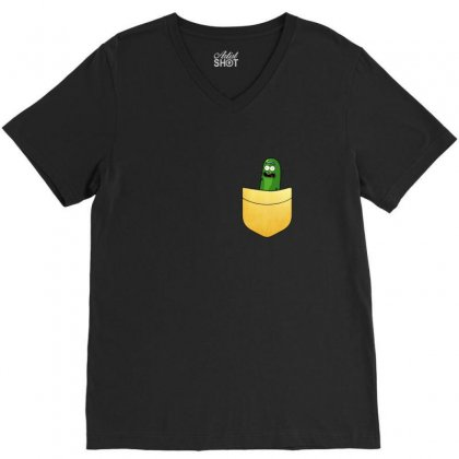 Pocket Gold Pickle V-neck Tee Designed By Balqis Tees