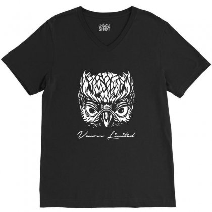 Vanoss Limited White Owl V-neck Tee Designed By Balqis Tees