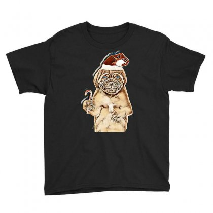 Bordeaux Puppy In Red Christmas Hat Holding Candy Cane In His Paw. Iso Youth Tee Designed By Kemnabi